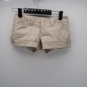 Aeropostale Khaki Cuffed Twill Chino Casual Shorts